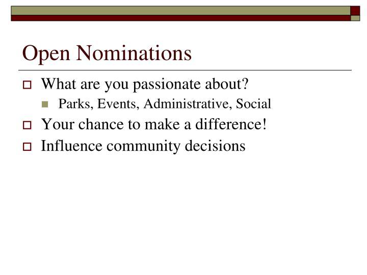Open Nominations