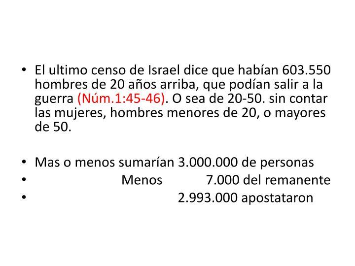 El ultimo censo de Israel dice que habían 603.550 hombres de 20 años arriba, que podían salir a la guerra