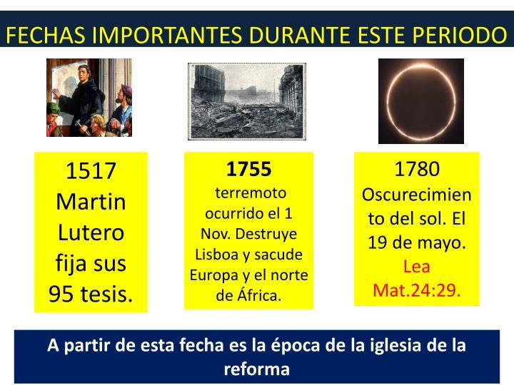 FECHAS IMPORTANTES DURANTE ESTE PERIODO