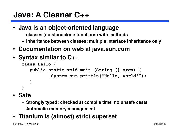 Java: A Cleaner C++