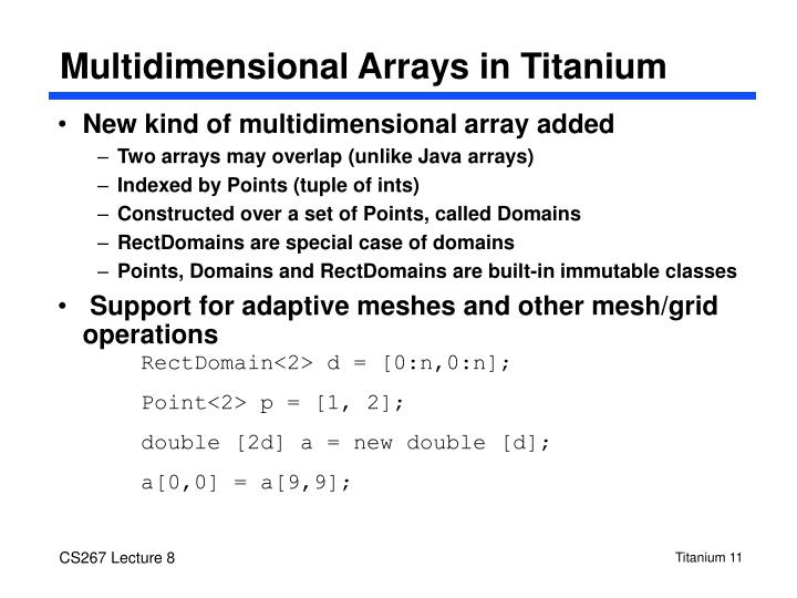 Multidimensional Arrays in Titanium