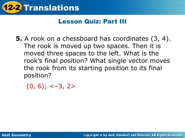 Lesson Quiz: Part III