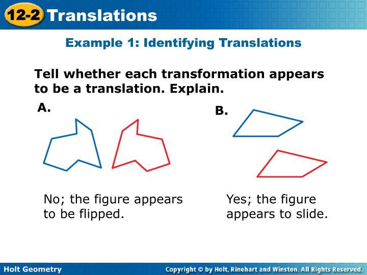 Example 1: Identifying Translations