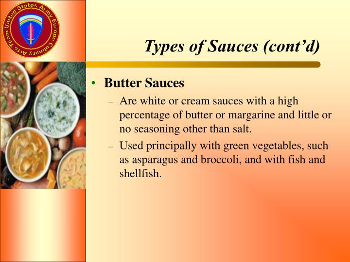 Types of Sauces (cont'd)