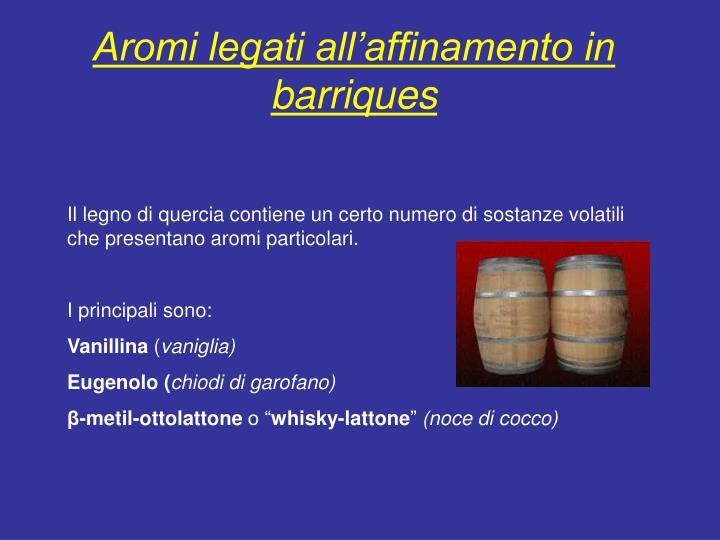 Aromi legati all'affinamento in barriques
