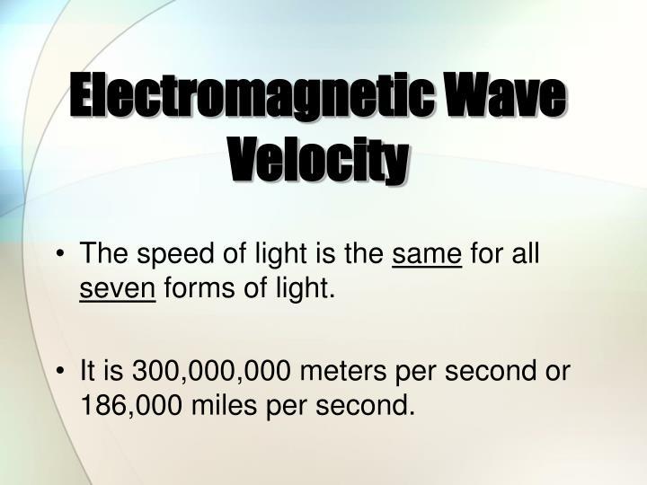 Electromagnetic Wave Velocity