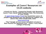 examples of carers resources on cc2a website