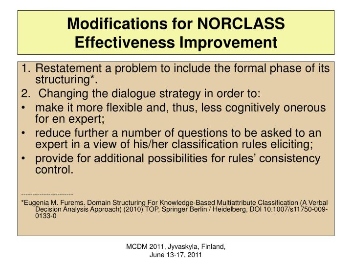 Modifications for NORCLASS Effectiveness Improvement