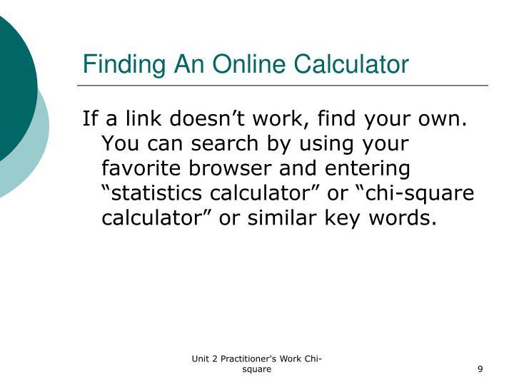 Finding An Online Calculator