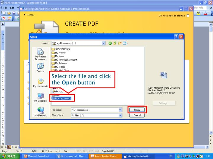 Select the file and click the