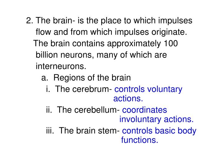 2. The brain- is the place to which impulses