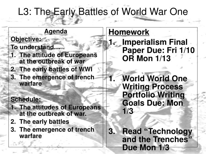 L3: The Early Battles of World War One