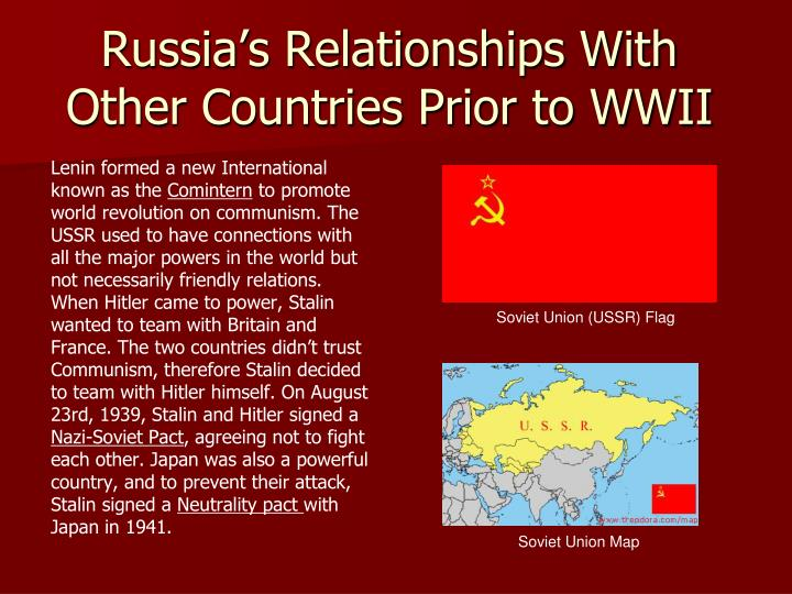 Russia's Relationships With Other Countries Prior to WWII