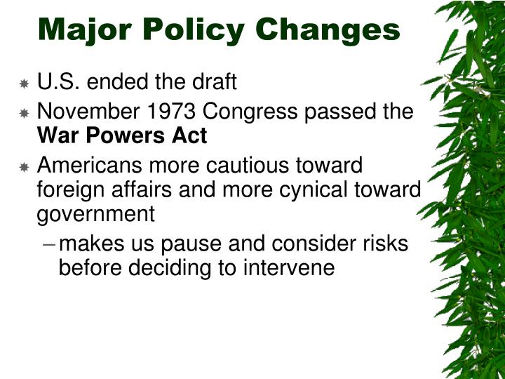 Major Policy Changes