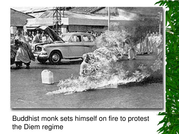 Buddhist monk sets himself on fire to protest the Diem regime