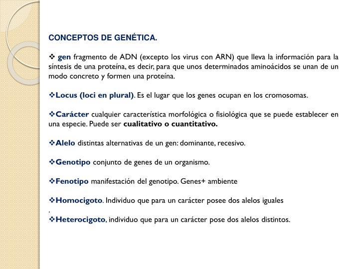 CONCEPTOS DE GENÉTICA.