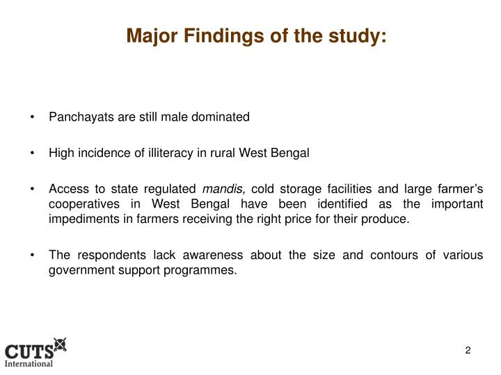 Major Findings of the study: