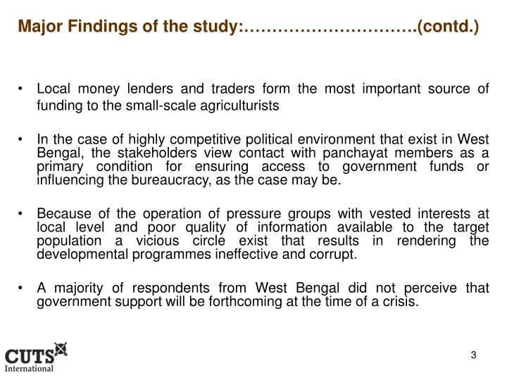 Major Findings of the study:………………………….(contd.)