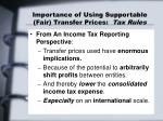 importance of using supportable fair transfer prices tax rules