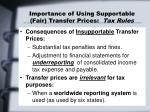 importance of using supportable fair transfer prices tax rules3