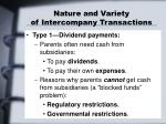 nature and variety of intercompany transactions