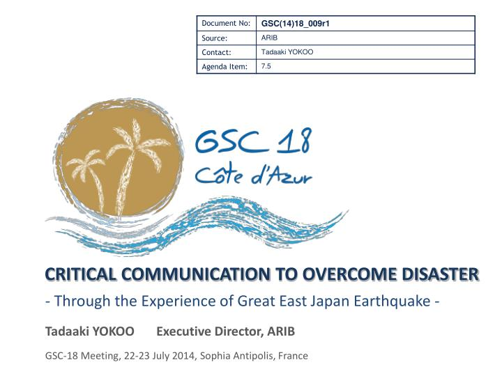 critical communication to overcome disaster n.