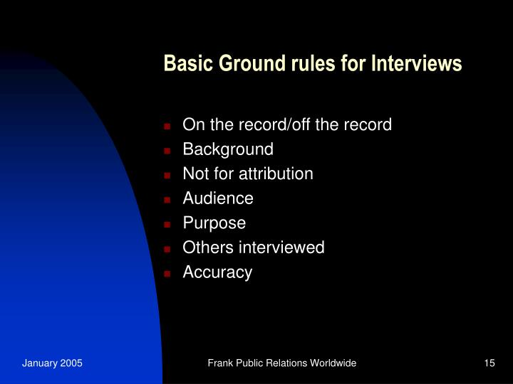 Basic Ground rules for Interviews