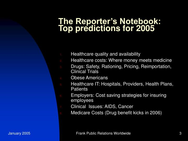 The reporter s notebook top predictions for 2005