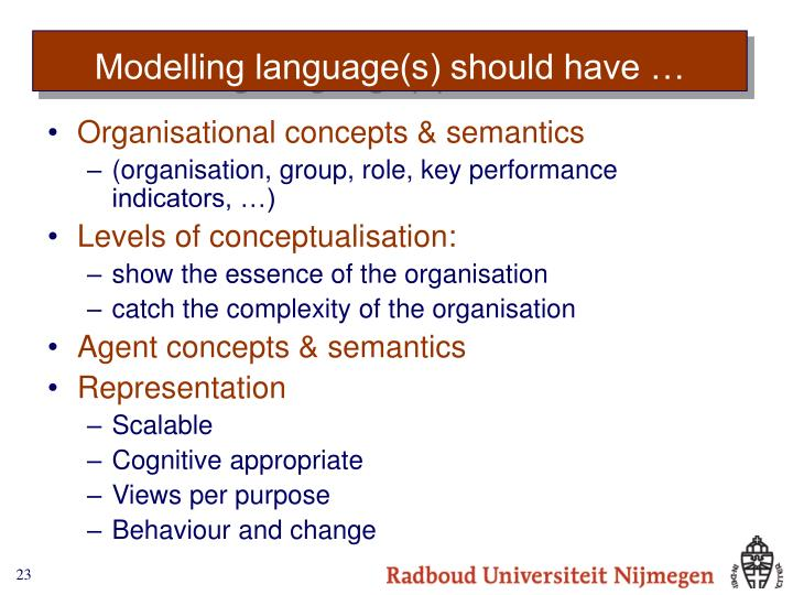 Modelling language(s) should have …