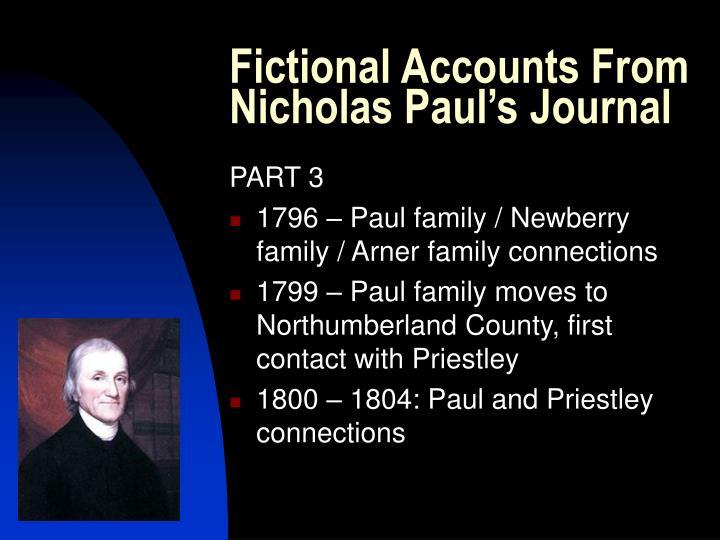 Fictional Accounts From Nicholas Paul's Journal