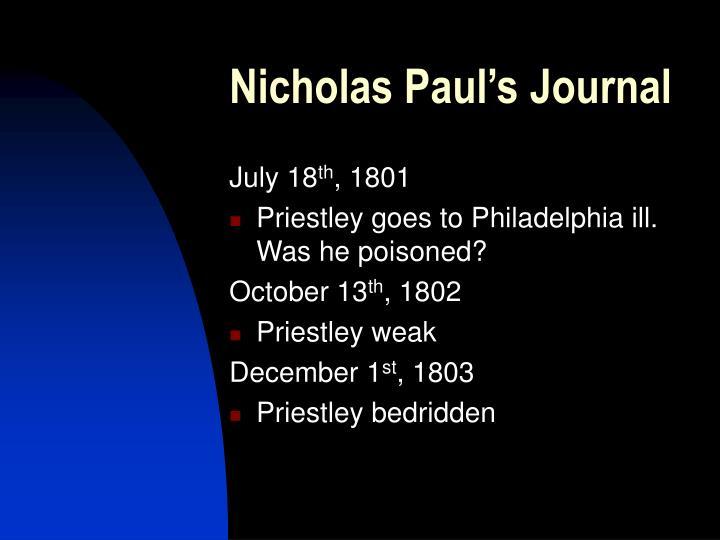 Nicholas Paul's Journal