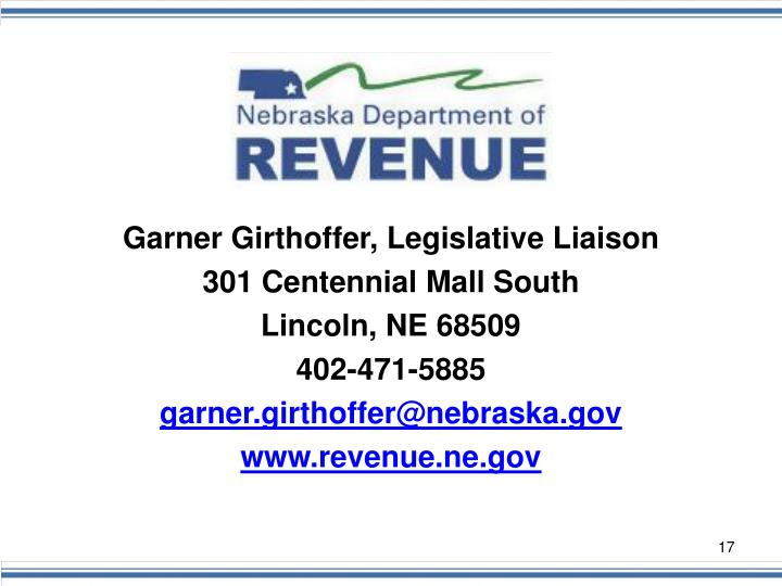 Garner Girthoffer, Legislative Liaison
