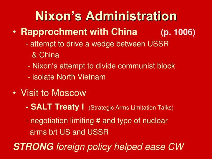 Nixon's Administration