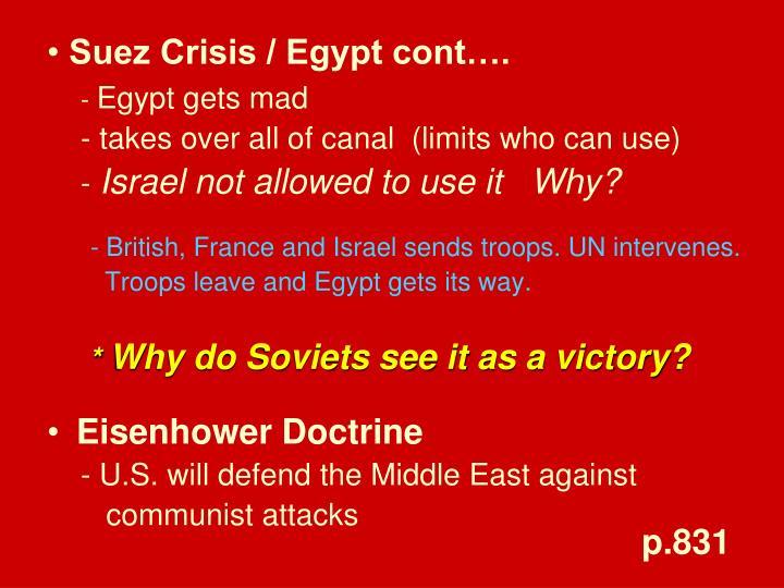 Suez Crisis / Egypt cont….