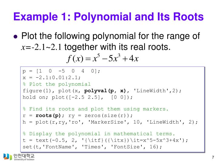 Example 1: Polynomial and Its Roots