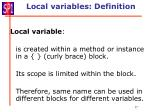 local variables definition
