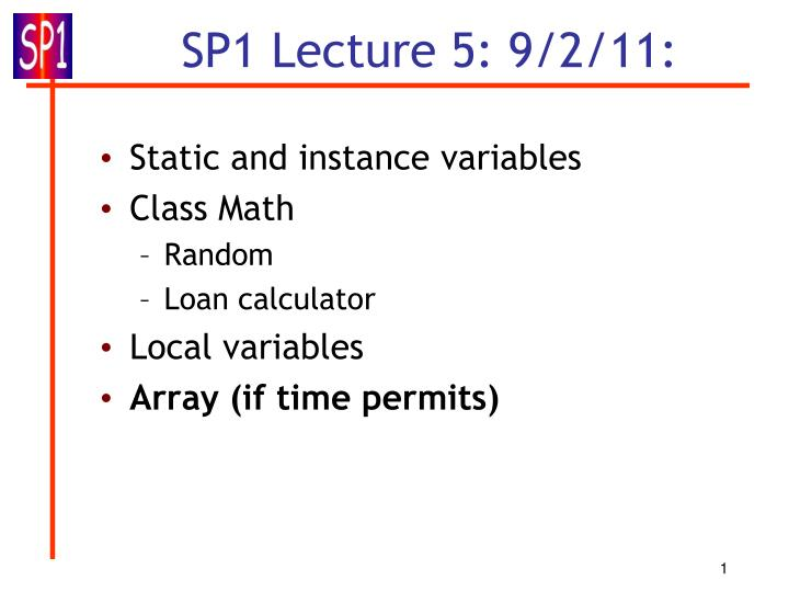 sp1 lecture 5 9 2 11