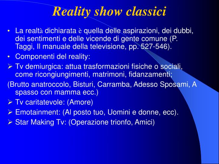 Reality show classici