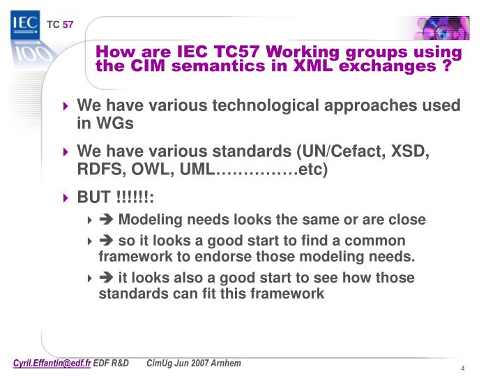 How are IEC TC57 Working groups using the CIM semantics in XML exchanges ?
