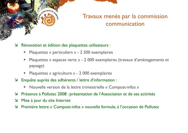 Travaux menés par la commission communication