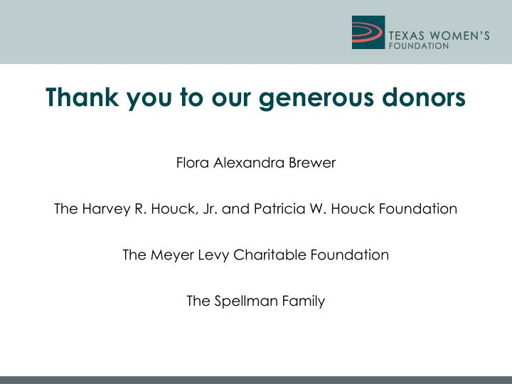 Thank you to our generous donors