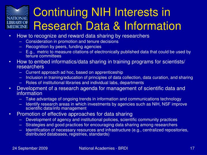 Continuing NIH Interests in Research Data & Information