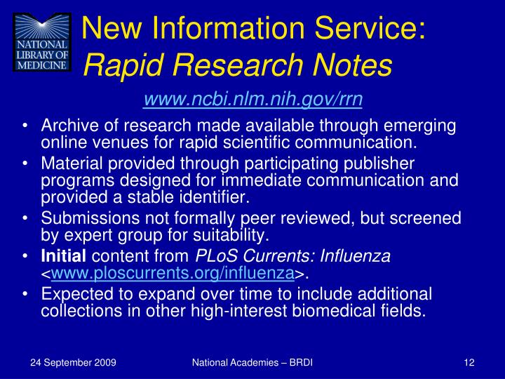 New Information Service:
