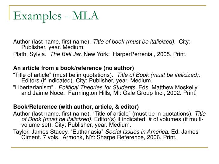 Examples - MLA