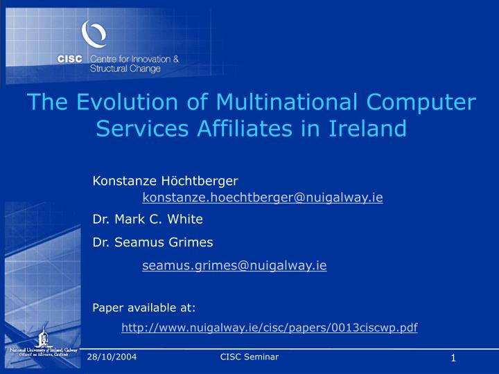 the evolution of multinational computer services affiliates in ireland n.