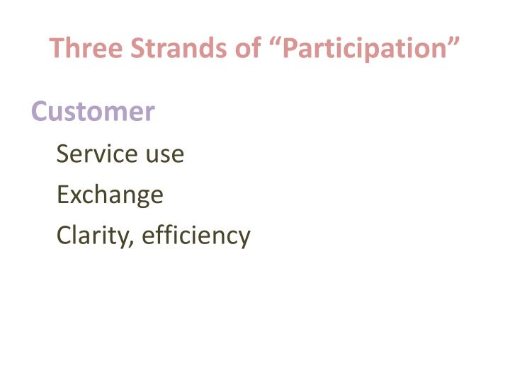 Three strands of participation1