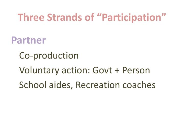 """Three Strands of """"Participation"""""""