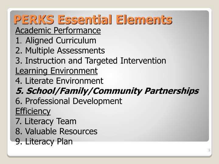 Perks essential elements