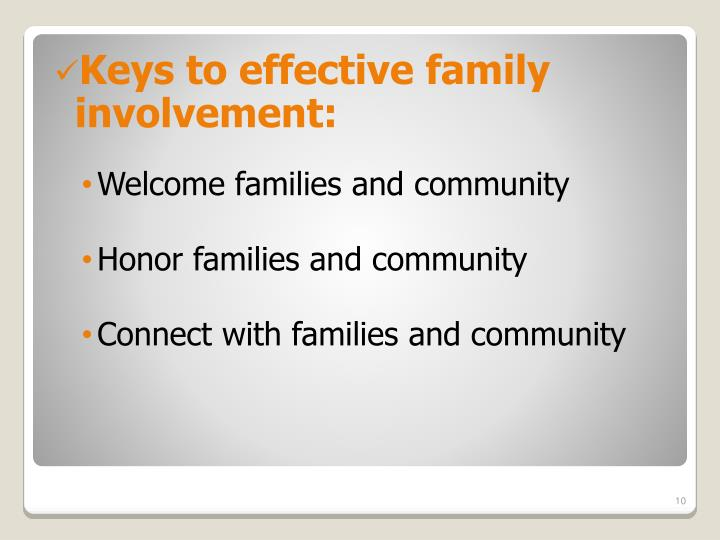 Keys to effective family involvement: