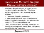 exercise and wellness program physical therapy screening